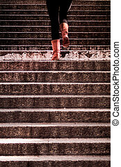 climbing up the stairs