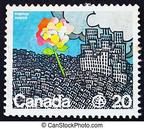 Postage stamp Canada 1976 Flower Growing from City - CANADA...