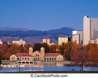 Downtown Denver - Sunrise over downtown Denver in late...