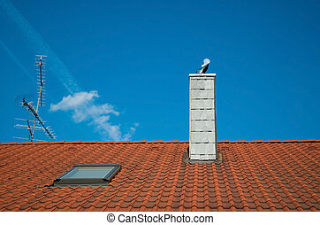 red tiled roof and blue sky