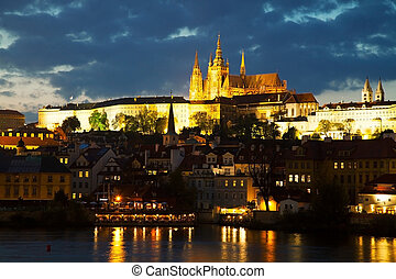 Overview of old Prague from Charles bridge ar sunset