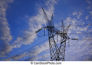 Power Lines - Electricity pylon and power lines with clouds