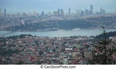 Bosporus pan shoot - Rainy Istanbul with Bosporus Bridge,...