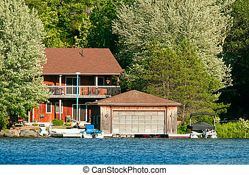 Cottage witha boathouse