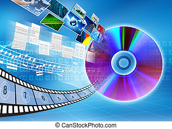 CD DVD data storage Concept - Conceptual image about how a...