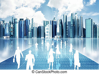 People doing business in virtual world - Illustration of...
