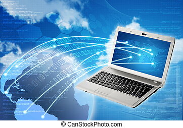 Laptop to Worldwide Connection - Conceptual image about how...