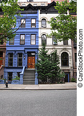 Brownstone Home - Urban city brownstone home painted white...