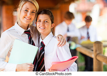 middle school girls portrait - two middle school girls...