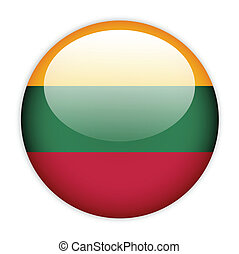 Lithuania flag button on white