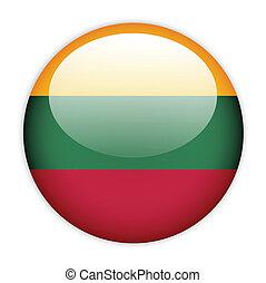 Lithuania flag button on white