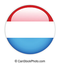 Luxembourg flag button on white