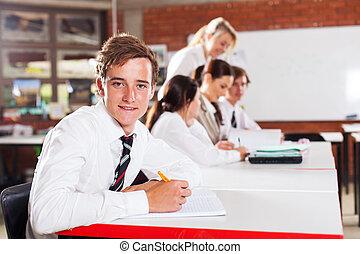 macho, adolescente, alto, escuela, Estudiante