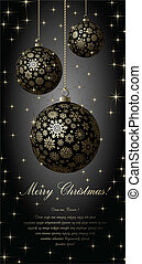 Merry Christmas card - Merry Christmas card with golden...