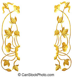 Golden lotus wood carving on white background, clipping path