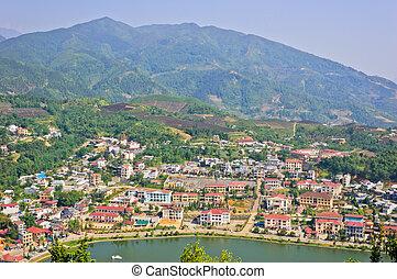 Landscape of Sapa town, Vietnam