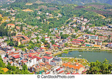 Cityscape of Sapa town in Vietnam