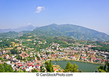Sapa lake and town scence - Sapa lake and town view from Ham...