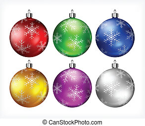 Christmas baubles on white