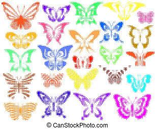 Halftones butterflies