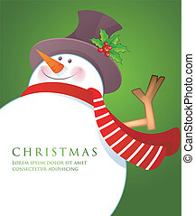 Christmas Snowman wiht red scarf - Vector illustration of...
