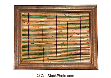 Within the frame. - Old bamboo within the wood frame for...