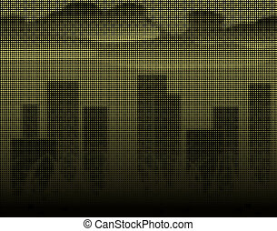 Halftone towers - Halftone illustration of a city skyline