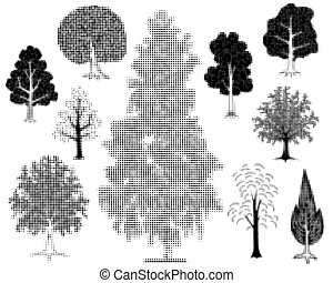 Halftone trees - Illustrations of various halftone trees