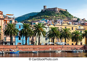 River, old fort on the Bosa, Sardinia - View of the river,...