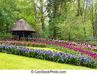 Keukenhof, Netherlands - Summer-house with spring flowers in...