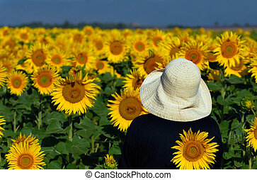 Looking at sunflowers - Image of a person in a white hat...