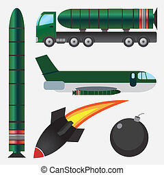 Bombs and missiles - Set of bombs and missiles on the white...