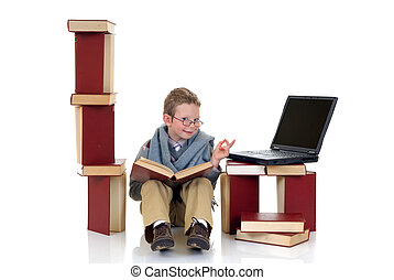 Eight year young boy studying - Eight year young boy,...