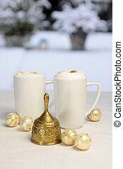 Golden Christmas bell, Christmas balls and gift bag