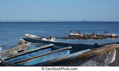 Old Wooden Boats on the Ocean Shore - Old wooden boats on...