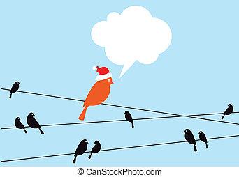 Santa bird on wire, vector - Santa bird with blank speech...