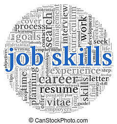 Job skills in word tag cloud - Job skills concept in word...