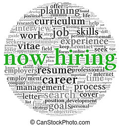 Now hiring concept in word tag cloud - Now hiring and job...