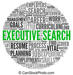 Executive search concept in word tag cloud on white...