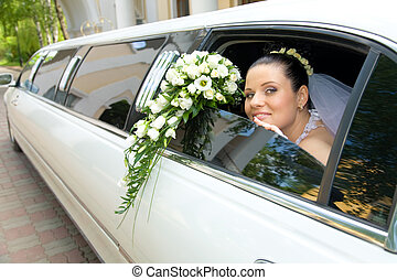 Bride - Image of beautiful bride showing her rose bouquet...