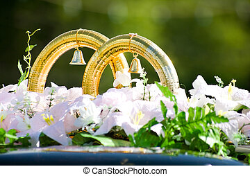 Wedding rings - Close-up of big wedding golden rings with...
