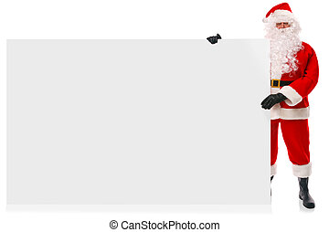 Full length Santa holding large blank sign - Full length...