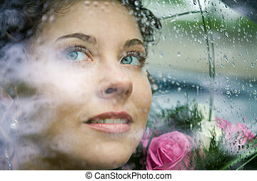 Face of bride - Photo of pretty face of bride through window...