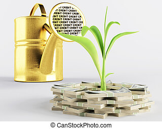Business lending - Green sprout represents a growing...