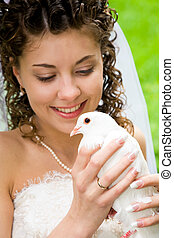 White dove  - Image of white dove in pretty bride's hands
