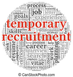 Temporary recruitment concept in word tag cloud on white...