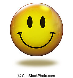 Render emoticon 3D Cheerful - Emoticon yellow in white...