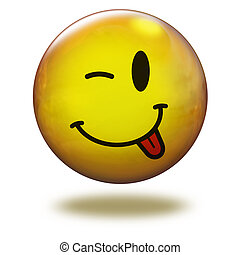 Render emoticon 3D. Winking with to - Emoticon yellow in...