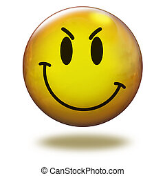 Render emoticon 3D. Cunning - Emoticon yellow in white...