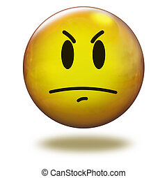 Render emoticon 3D Angry - Emoticon yellow in white...
